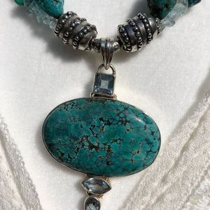 Jewelry - Sterling Silver Turquoise and Amethyst Necklace